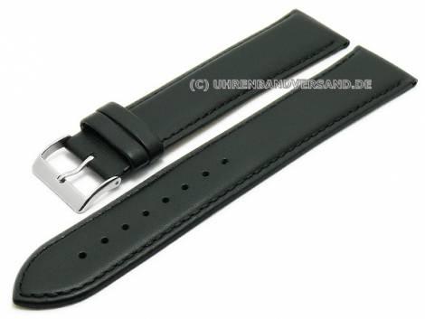 Watch strap XL super long 24mm black leather smooth stitched (width of buckle 22 mm) - Bild vergrößern