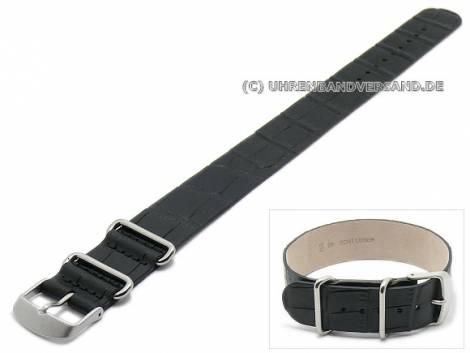 Watch strap 20mm black leather alligator grain one piece strap - Bild vergrößern