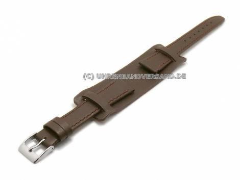 Watch strap 12mm dark brown calf´s leather with leather pad (width of buckle 10 mm) - Bild vergrößern