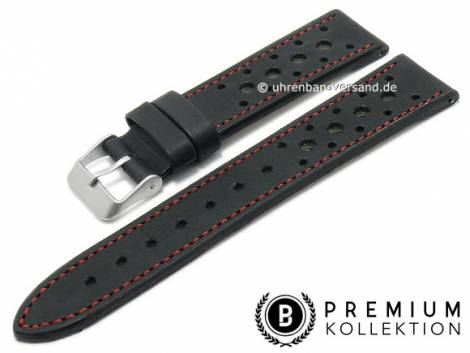 Watch strap 24mm black leather racing look red stitching by PEBRO Premium (width of buckle 22 mm) - Bild vergrößern