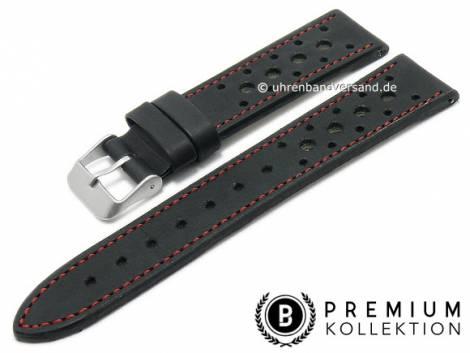 Watch strap 22mm black leather racing look red stitching by PEBRO Premium (width of buckle 20 mm) - Bild vergrößern