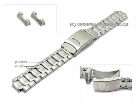 Watch strap 20mm stainless steel solid look curved ends with security clasp - Bild vergrößern