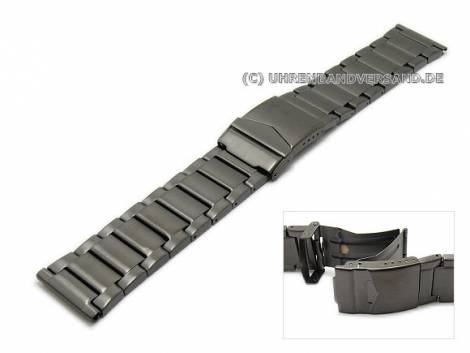 Watch strap XL 22mm anthracite stainless steel solid look brushed with clasp - Bild vergrößern