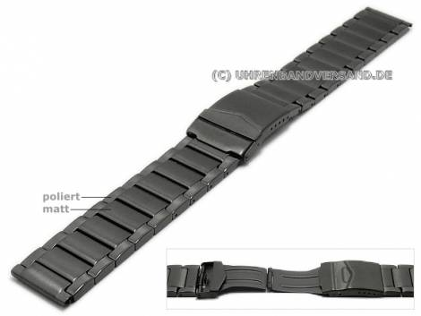 Watch strap XL 22mm anthracite/black stainless steel solid look partly polished with clasp - Bild vergrößern