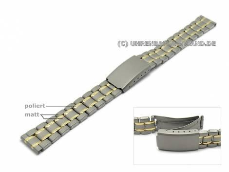 Watch strap 14mm titanium bicolour partly polished with clasp - Bild vergrößern