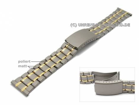 Watch strap 22mm titanium dual tone partly polished with clasp - Bild vergrößern