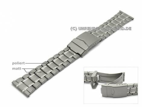 Watch strap 22mm titanium folded partly polished with clasp - Bild vergrößern