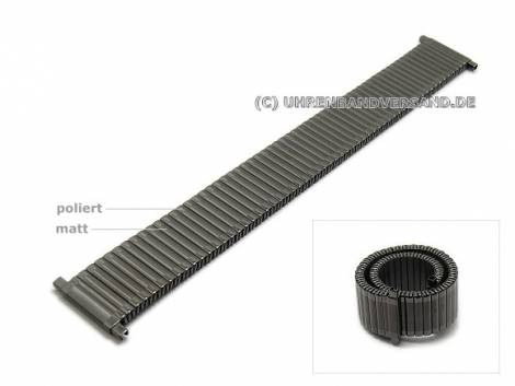 Watch strap XL 18-22mm anthracite/black stainless steel expansion strap telescopic ends partly polished - Bild vergrößern