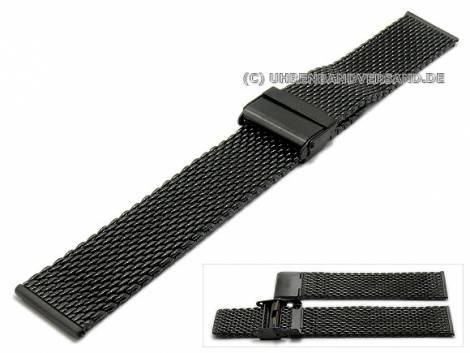 Watch strap 22mm anthracite/black mesh medium structure polished with security clasp - Bild vergrößern
