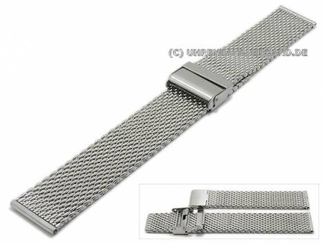 Watch strap 22mm mesh medium structure polished with security clasp - Bild vergrößern