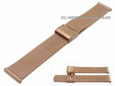 Watch strap 24mm rosé golden mesh fine structure - Bild vergrößern