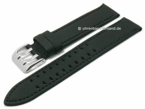 Basic-watch strap 20mm black leather slightly grained matt stitched (width of buckle 20 mm) - Bild vergrößern