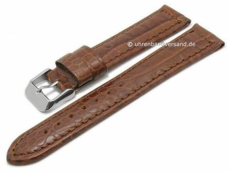 Basic-watch strap 22mm brown leather alligator grain matt stitched (width of buckle 20 mm) - Bild vergrößern