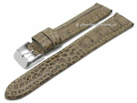 Basic-watch strap 20mm beige leather alligator grain matt stitched (width of buckle 18 mm) - Bild vergrößern