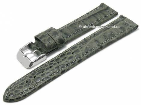 Basic-watch strap 22mm grey leather alligator grain matt stitched (width of buckle 20 mm) - Bild vergrößern
