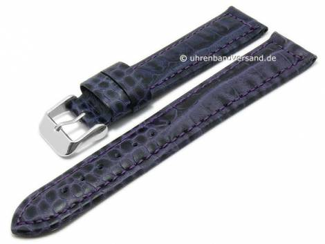 Basic-watch strap 20mm purple leather alligator grain matt stitched (width of buckle 18 mm) - Bild vergrößern