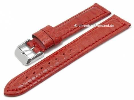 Basic-watch strap 20mm red leather alligator grain matt stitched (width of buckle 18 mm) - Bild vergrößern