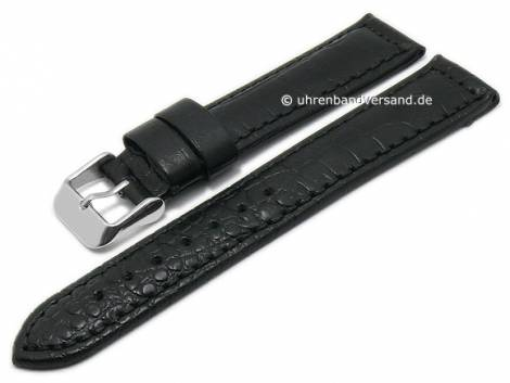 Basic-watch strap 20mm black leather alligator grain matt stitched (width of buckle 18 mm) - Bild vergrößern