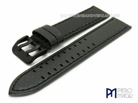 Watch band -Carbon Fiber BB- 18mm black stitched black buckle in Carbon-Look by Piero Magli - Bild vergrößern