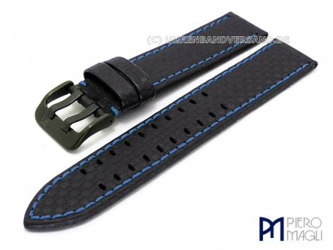 Watch band -Carbon Fiber BB- 18mm black blue stitching black buckle in Carbon-Look by Piero Magli - Bild vergrößern