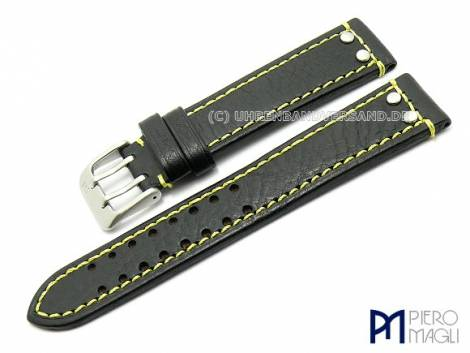 Watch band -Dakota Aviator- 20mm black yellow contrast stitching by Piero Magli - Bild vergrößern