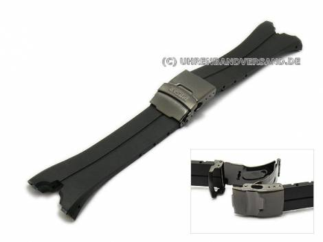 Replacement watch strap PULSAR black silicone special lug ends with clasp black for PM7021, PF3797, PM7019, PF3751 etc. - Bild vergrößern