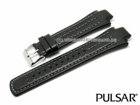 Replacement watch strap PULSAR black leather light stitching special lug ends for PF3971 - Bild vergrößern