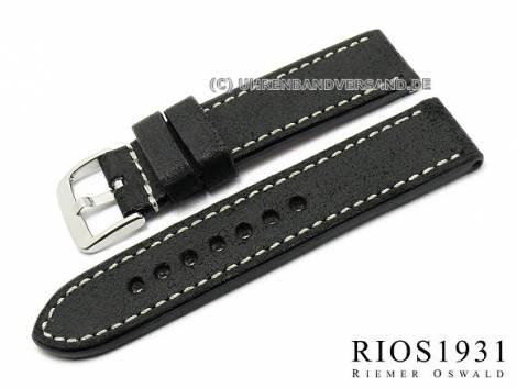 Watch band -Oxford- 24mm black RIOS high quality leather smooth stitching (width of buckle 24 mm) - Bild vergrößern