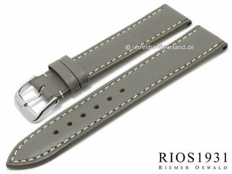 Watch band -Pensa- 19mm grey by RIOS Juchten leather vegetable tanned white stitching (width of buckle 16 mm) - Bild vergrößern