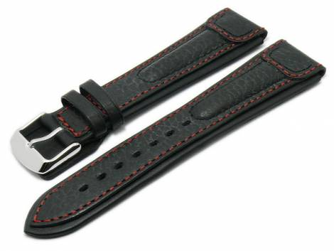 Watch strap -Advantage- 22mm black buffalo leather extreme look by RIOS (width of buckle 20 mm) - Bild vergrößern