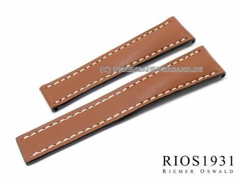 Watch band -Pilot- 20mm light brown Juchten leather for Breitling clasp RIOS (width of buckle 18 mm) - Bild vergrößern