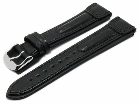 Watch strap -Montreal- 22mm black leather carbon look extreme design by RIOS (width of buckle 20 mm) - Bild vergrößern