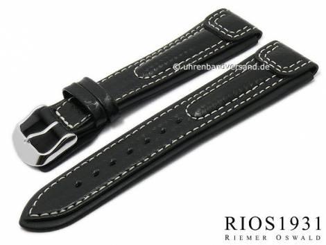 Watch strap -Silverstone- 24mm black leather carbon look light stitching by RIOS (width of buckle 20 mm) - Bild vergrößern