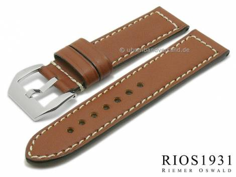 Watch band XL -Firenze- 26/26mm brown RIOS for OFFICINE PANERAI (width of buckle 26 mm) - Bild vergrößern