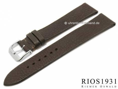 BIO leather watch strap -Kempten- 16mm dark brown grained rustic optics by RIOS (width of buckle 14 mm) - Bild vergrößern