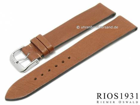 BIO leather watch strap -Kempten- 18mm light brown grained rustic optics by RIOS (width of buckle 16 mm) - Bild vergrößern