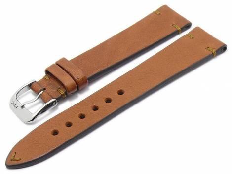 BIO leather watch strap -Mittenwald- 18mm light brown grained rustic optics stritched by RIOS (width of buckle 16 mm) - Bild vergrößern