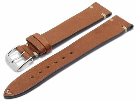 BIO leather watch strap -Inzell- 18mm light brown grained rustic optics light stitching by RIOS (width of buckle 16 mm) - Bild vergrößern