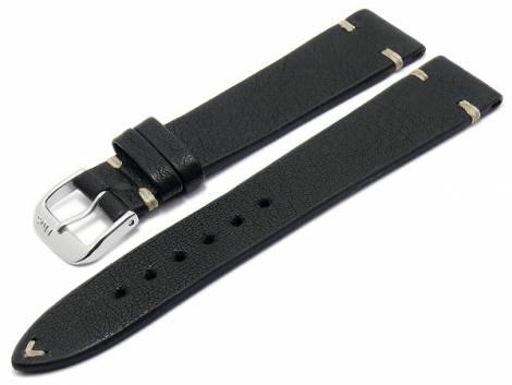 BIO leather watch strap -Inzell- 18mm black grained rustic optics light stitching by RIOS (width of buckle 16 mm) - Bild vergrößern