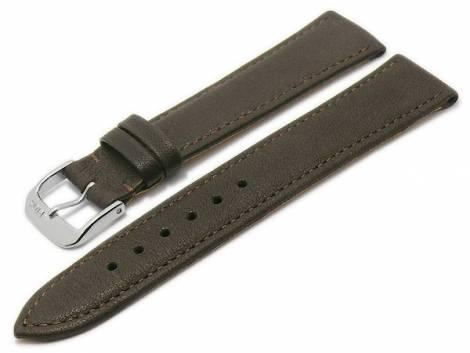 BIO leather watch strap -Waging- 18mm dark brown grained stitched by RIOS (width of buckle 16 mm) - Bild vergrößern