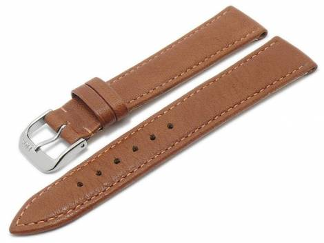 BIO leather watch strap XS -Waging- 18mm light brown grained stitched by RIOS (width of buckle 16 mm) - Bild vergrößern