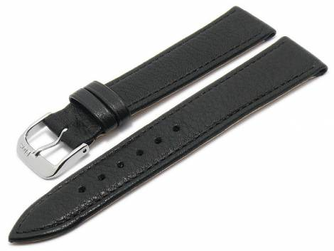 BIO leather watch strap -Waging- 18mm black grained stitched by RIOS (width of buckle 16 mm) - Bild vergrößern