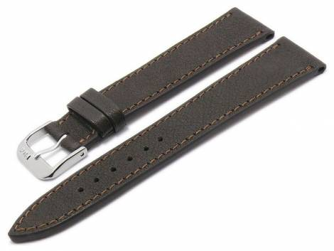 BIO leather watch strap -Peiting- 19mm dark brown grained matt stitched by RIOS (width of buckle 16 mm) - Bild vergrößern
