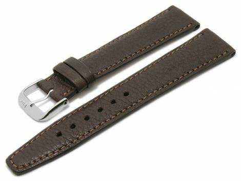 BIO leather watch strap -Füssen- 18mm dark brown grained matt stitched by RIOS (width of buckle 16 mm) - Bild vergrößern