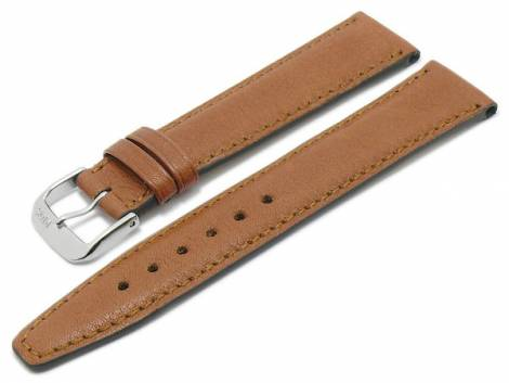 BIO leather watch strap -Füssen- 19mm light brown grained matt stitched by RIOS (width of buckle 16 mm) - Bild vergrößern