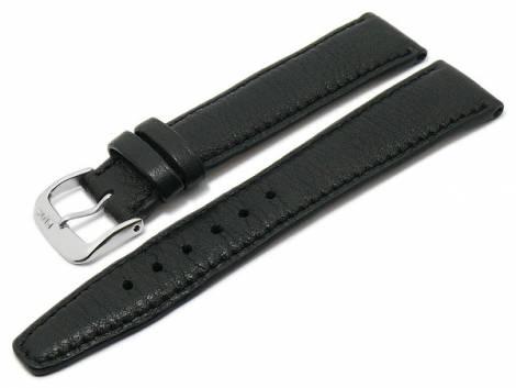 BIO leather watch strap -Füssen- 18mm black grained matt stitched by RIOS (width of buckle 16 mm) - Bild vergrößern