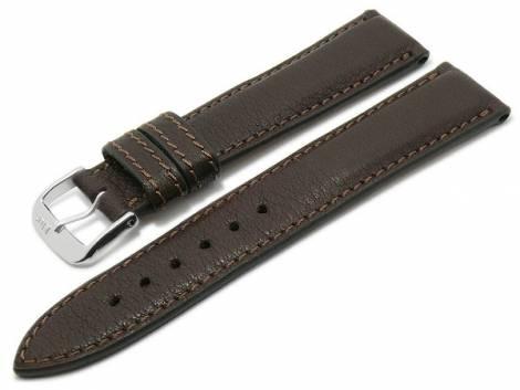 BIO leather watch strap -Schongau- 18mm dark brown matt stitched by RIOS (width of buckle 16 mm) - Bild vergrößern