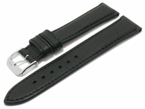 BIO leather watch strap -Schongau- 19mm black matt stitched by RIOS (width of buckle 16 mm) - Bild vergrößern