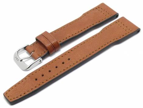 BIO leather watch strap -Landsberg- 22mm light brown grained aviator look stitched by RIOS (width of buckle 18 mm) - Bild vergrößern
