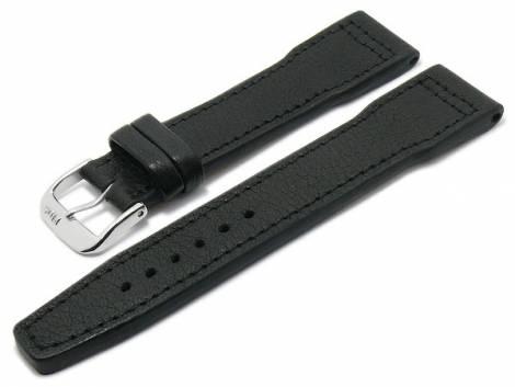 BIO leather watch strap -Landsberg- 20mm black grained aviator look stitched by RIOS (width of buckle 18 mm) - Bild vergrößern